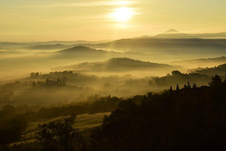 Misty mountains in sunlight
